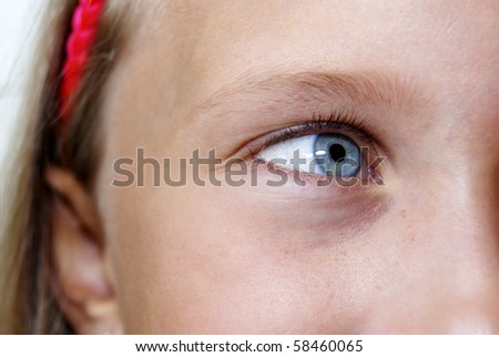 Close up of young girl's blue eye - stock photo