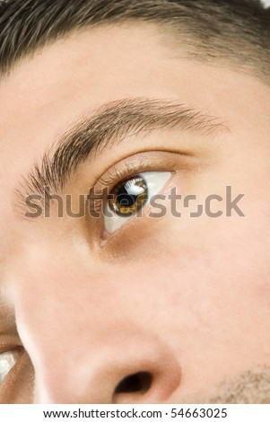 Close up of young man eye and face skin