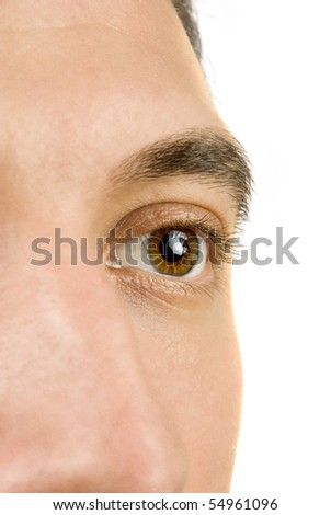 Close up of young man eye,part of face isolated on white background - stock photo