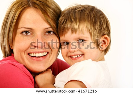 close up of young mother and daughter over white background - stock photo