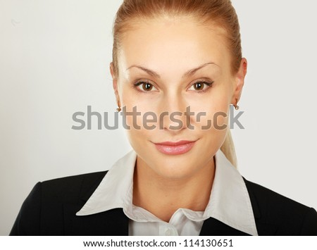 Close-up of young pretty woman isolated on white background - stock photo