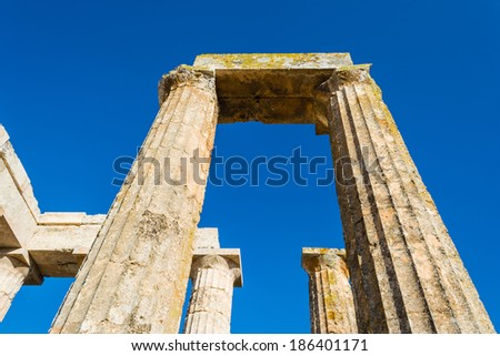 Close-up of Zeus temple pillars in the ancient Nemea, Greece