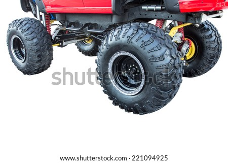 close up off-road truck big wheels monster isolated on white background with clipping path - stock photo