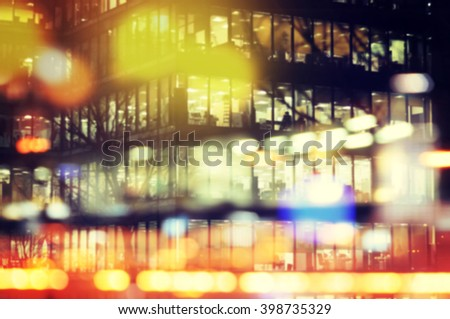 Close up office building blurred bokeh lights background - stock photo