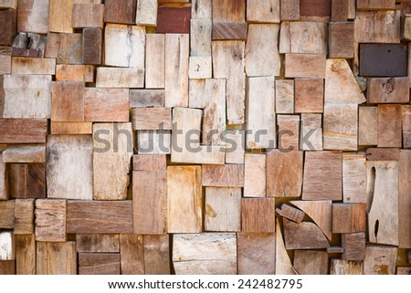 Close up old and dirty wooden wall tiles texture