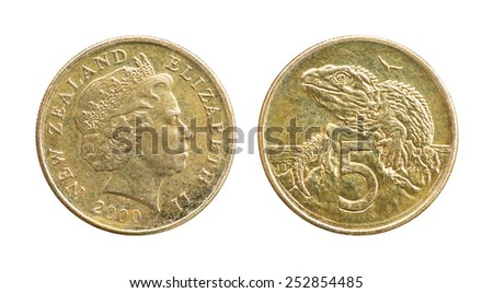 Close up old and dirty year 2000 New Zealand 5 Cents coin isolated on white - stock photo