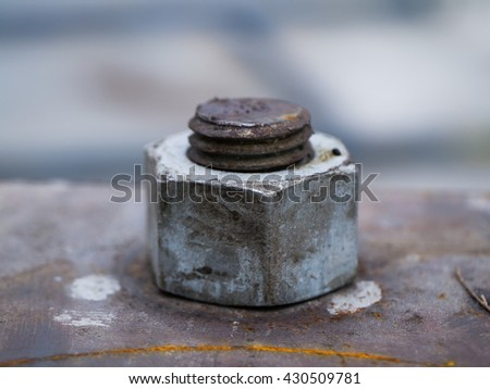 close up old bolts and nuts with rust. - stock photo