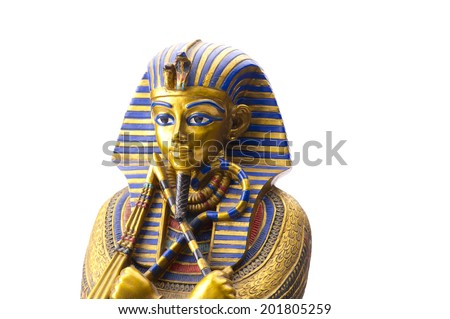 Close up Old Egyptian pharaoh Statue - stock photo