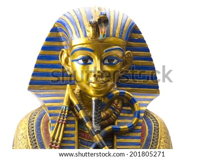 Close up Old Egyptian pharaoh Statue - stock photo