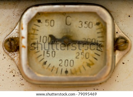 Close-up old scale display of thermometer - stock photo
