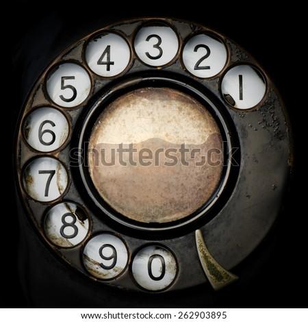 Close up Old Telephone. - stock photo