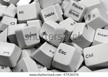 Close-up on a Batch of white Computer Keyboard keys - stock photo