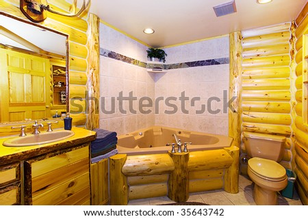 Close up on a Bathroom in a Log Cabin - stock photo