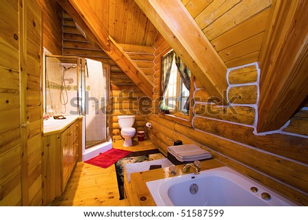 Close up on a Bathroom in a Log Cabin
