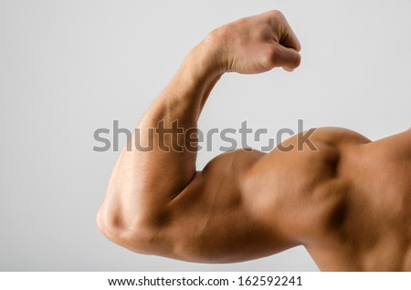 Close up on a bodybuilder biceps,shoulder,arm - stock photo