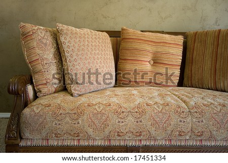 Close up on a Couch in a Trendy Modern Dining Room - stock photo