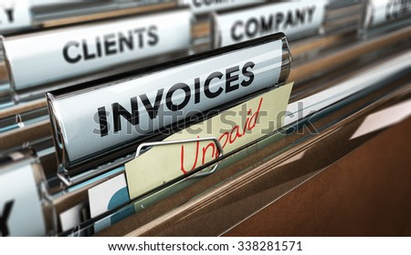 Close up on a file tab with the word invoice and a note where it is handwritten unpaid with blur effect. Concept image for illustration of unpaid invoices recovery. - stock photo