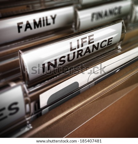 Close up on a file tab with the word life insurance, focus on the main text and blur effect. Concept image for illustration of family protection policy - stock photo