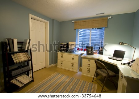 Close up on a Home Office Room - stock photo