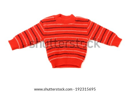 Close up on a newborn baby red blouse with stripes - stock photo