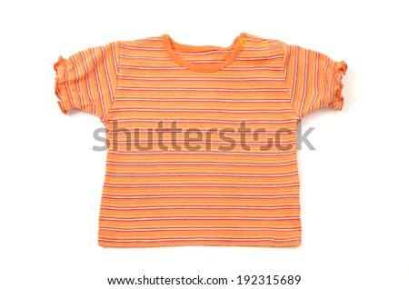 Close up on a newborn baby red shirt with stripes - stock photo