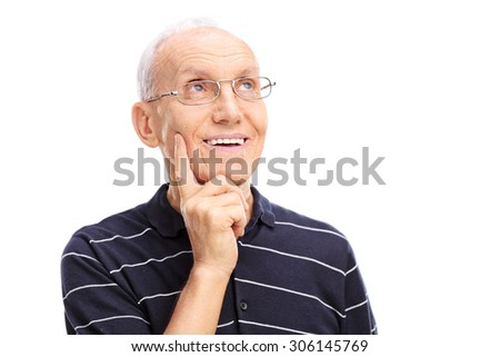 Close-up on a pensive senior in a blue shirt with white stripes looking up and thinking isolated on white background - stock photo
