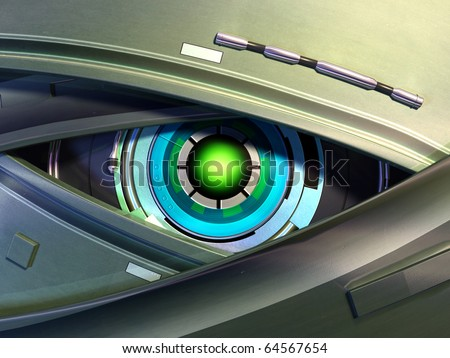 Close-up on a robotic eye. Digital illustration. - stock photo