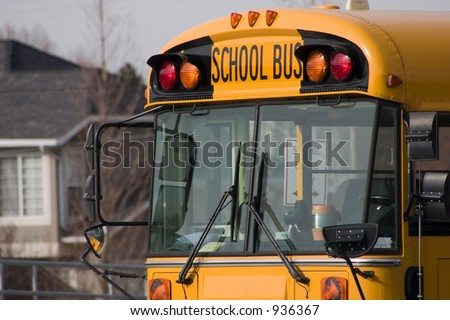 Close up on a School Bus - stock photo