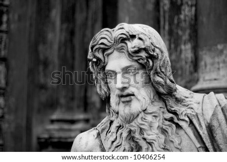 Close-up on a statue in the Vatican Museum belvedere courtyard - stock photo