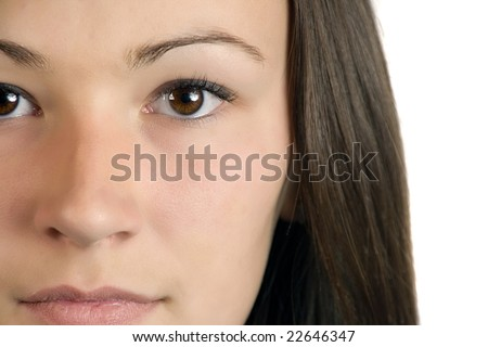 Close up on a Teenager Girl - Isolated - stock photo