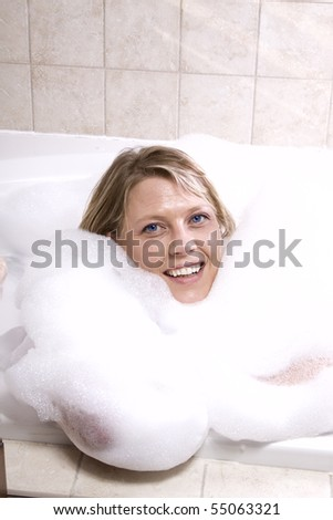 Close up on a Woman in the Tub Bathing - stock photo