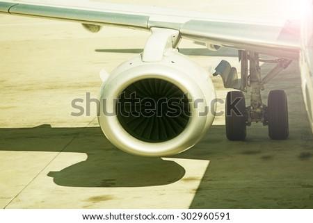 close up on airplane engine - stock photo
