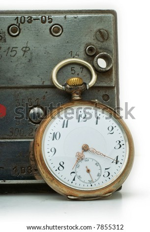 Close up on antique watch - stock photo