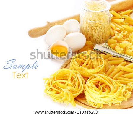 close up on assortment of uncooked pasta - stock photo