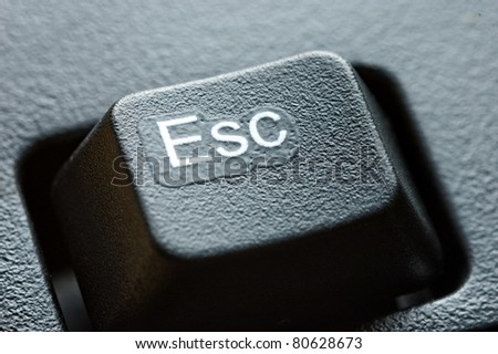 close up on black escape key - stock photo