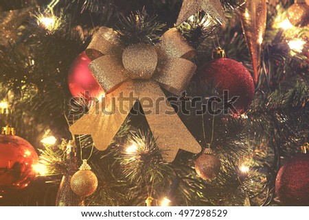 close up on Christmas tree and Christmas decorations