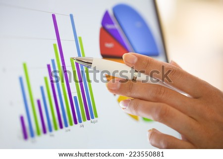 Close-up on financial data computer screen - stock photo