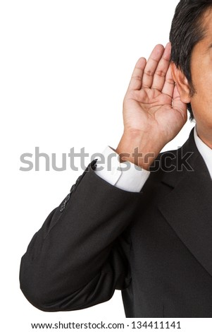 Close up on hand and ear - stock photo