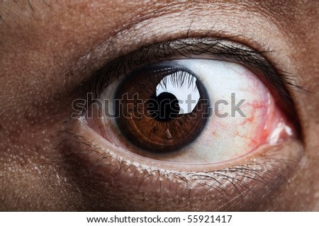 Close up on human eye, looking into camera.