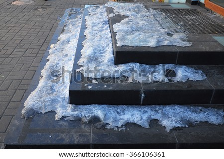 Close up on Ice Covered Slippery Stair Case. - stock photo