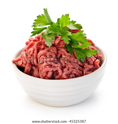 Close up on isolated bowl of lean red raw ground meat - stock photo