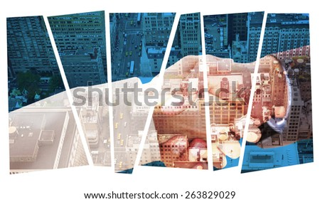 Close up on partners shaking hands against new york - stock photo