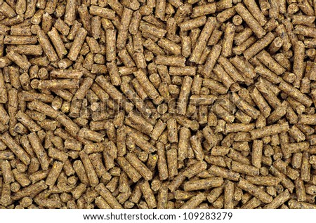 Close-up on pellets used as horse food - stock photo