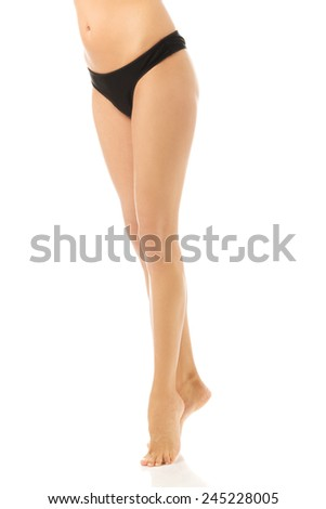 Close up on perfect female legs. - stock photo