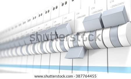 Close-up on several safety switches. The camera focuses on the one witch is OFF. Other circuit breakers are ON. - stock photo