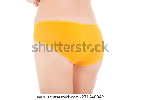 Close up on slim woman buttocks in underwear. - stock photo