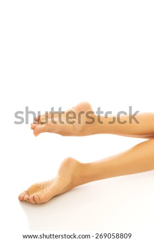 Close up on spa woman bare feet.