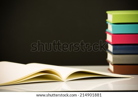 close up on stack of book - stock photo