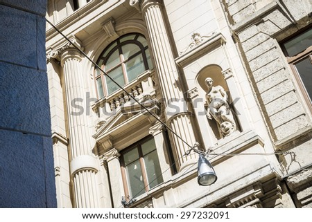 close-up on the building, Milan,italy - stock photo