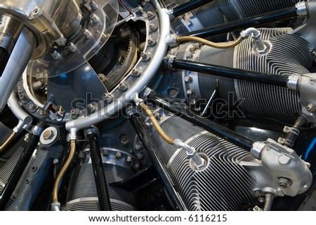 Close-up on the engine of an old Curtiss HS-2L airplane